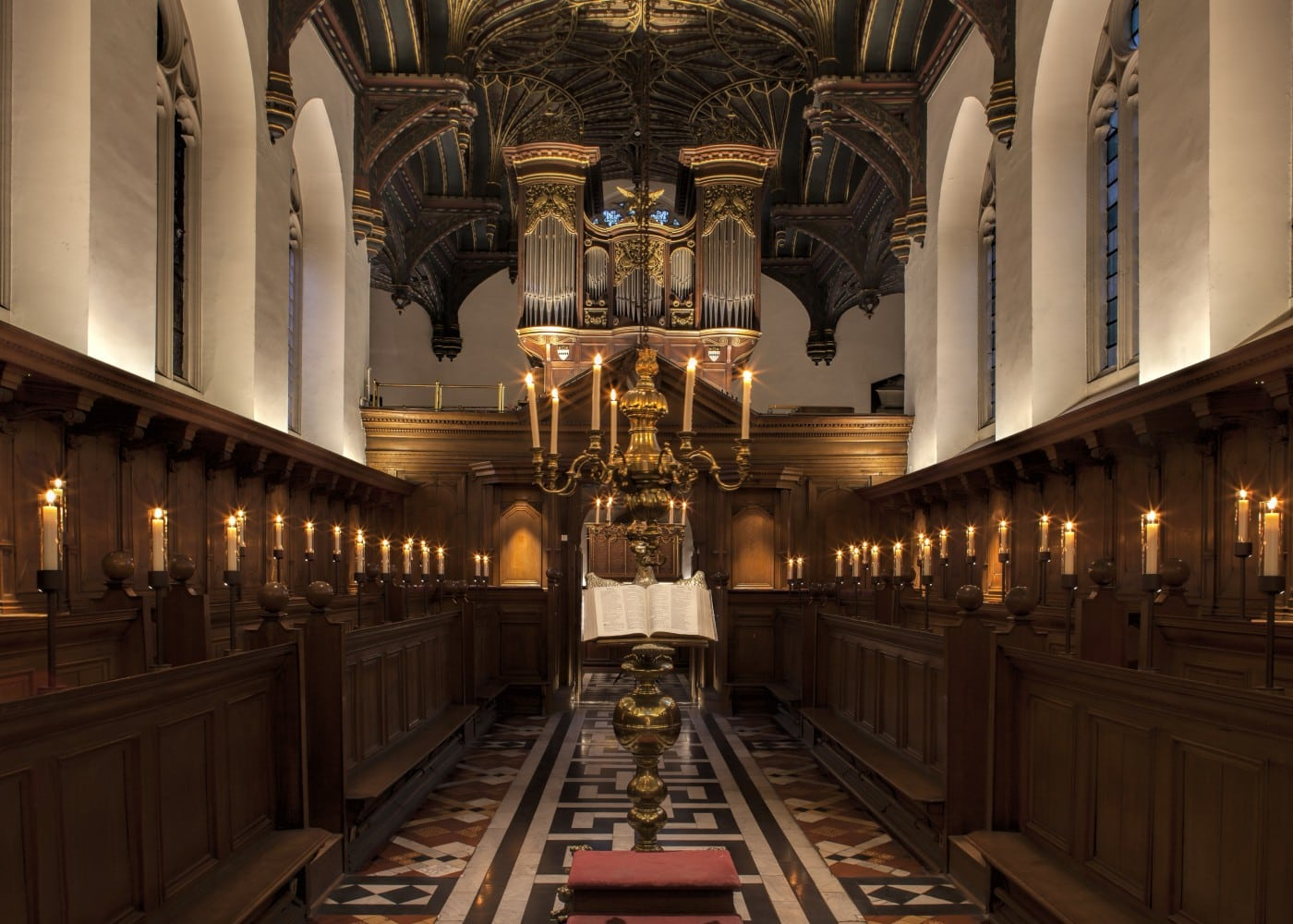 architectural lighting design: Brasenose College Chapel interior