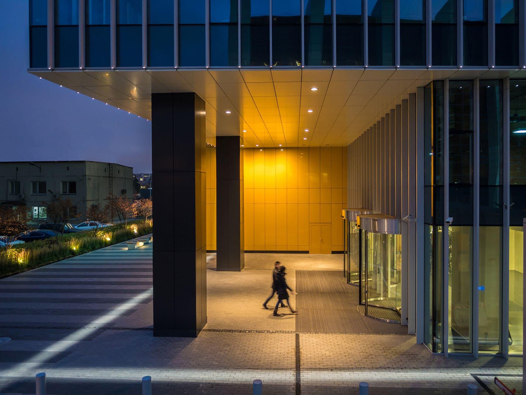 commercial lighting design: Aerodom entrance