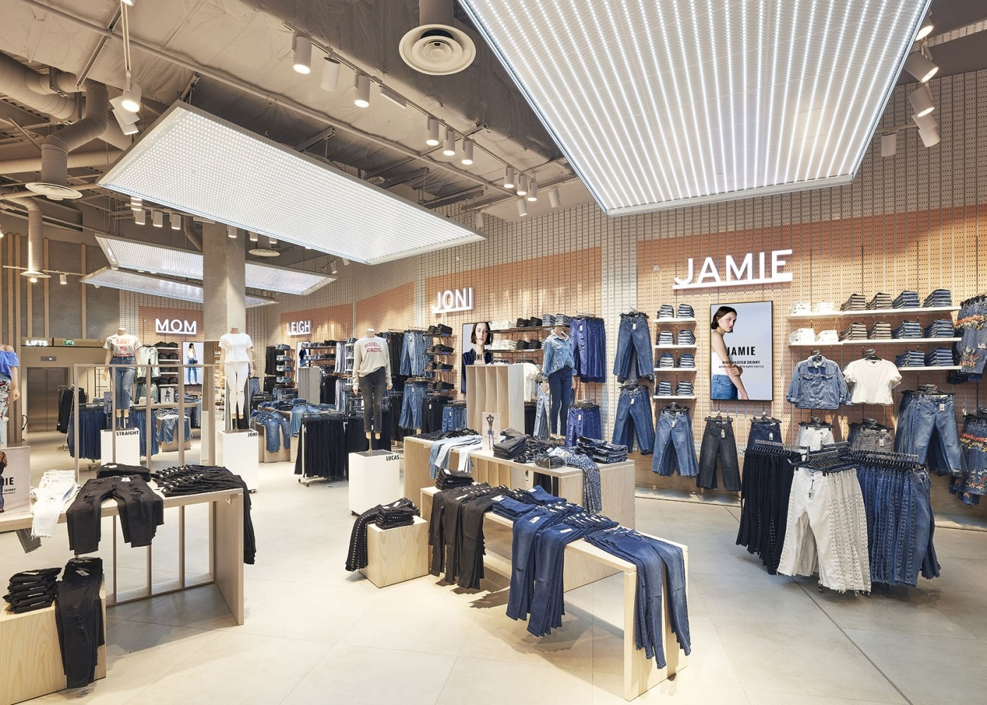 retail lighting design: Topshop denim department