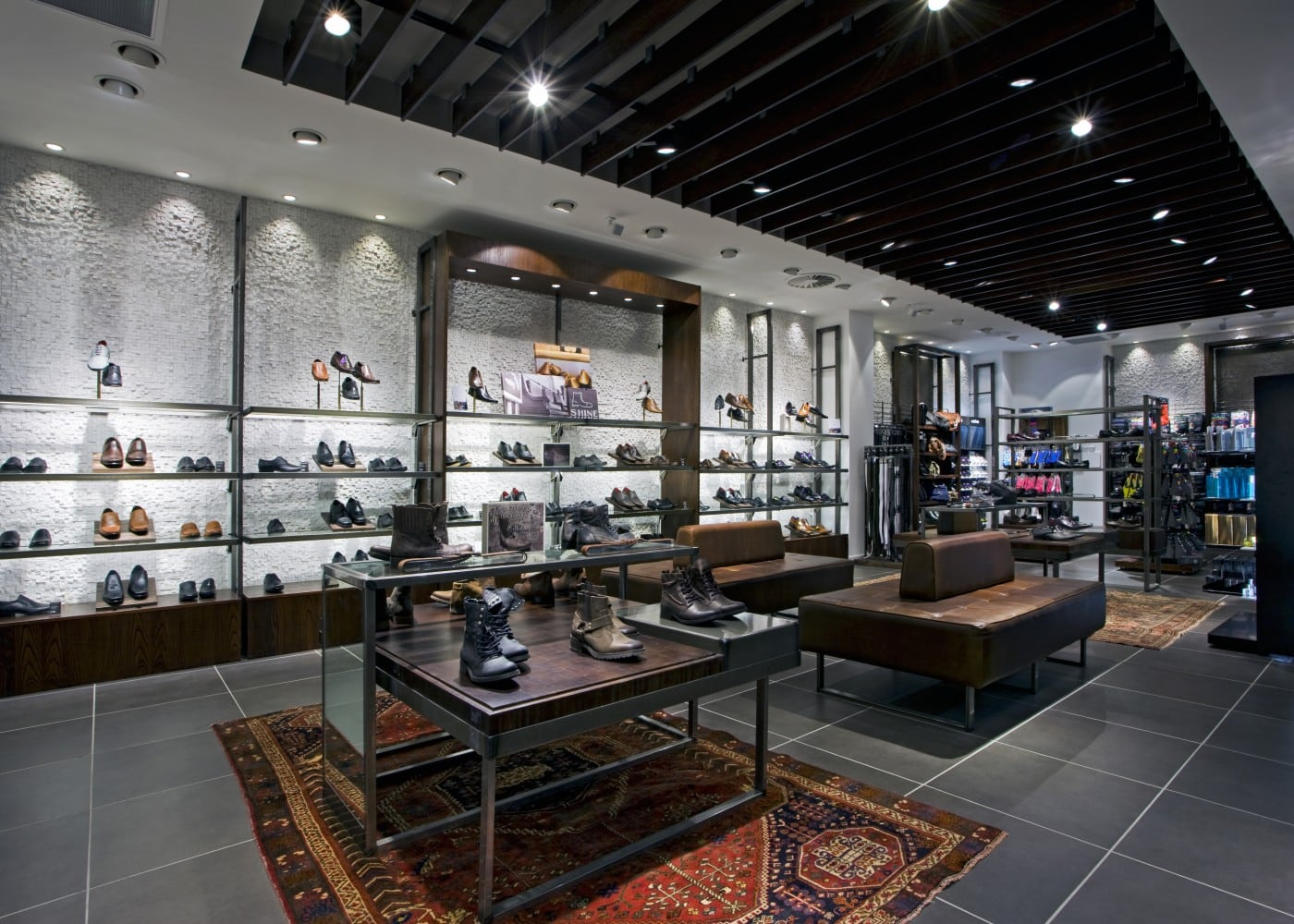 retail lighting design: Next menswears shoe department