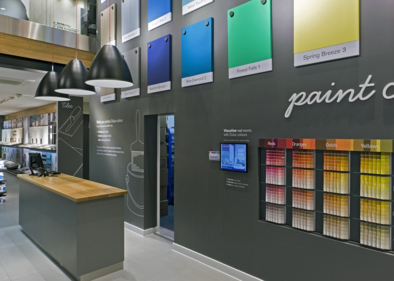 retail lighting design: Next Home paint department