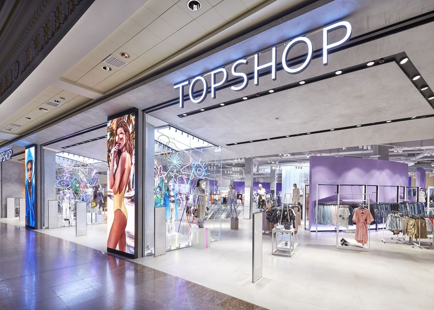 retail lighting design: Topshop exterior