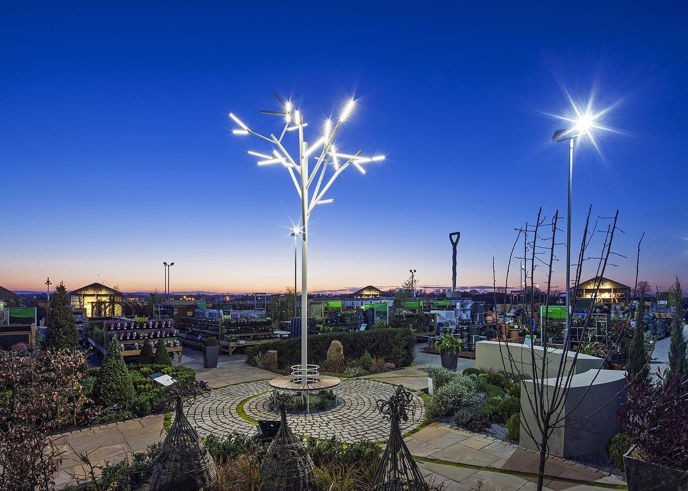 retail lighting design: The Garden Centre outside shop area