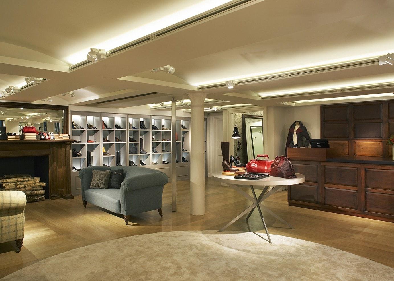 retail lighting design: Hobbs Covent Garden footwear department
