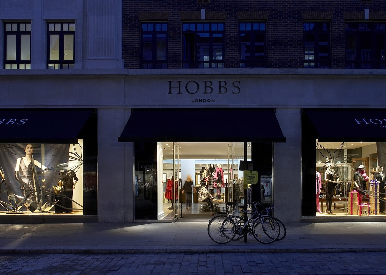 retail lighting design: Hobbs Covent Garden exterior