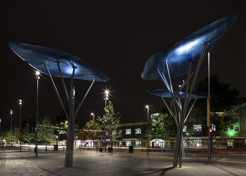public realm lighting with sculptures