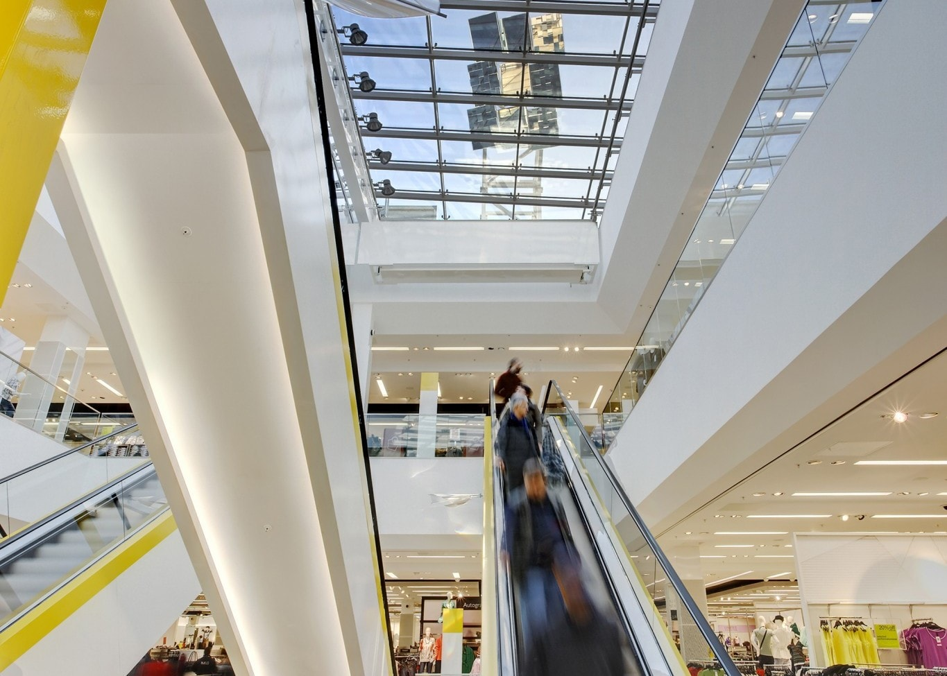 retail lighting design: M&S White City escalators