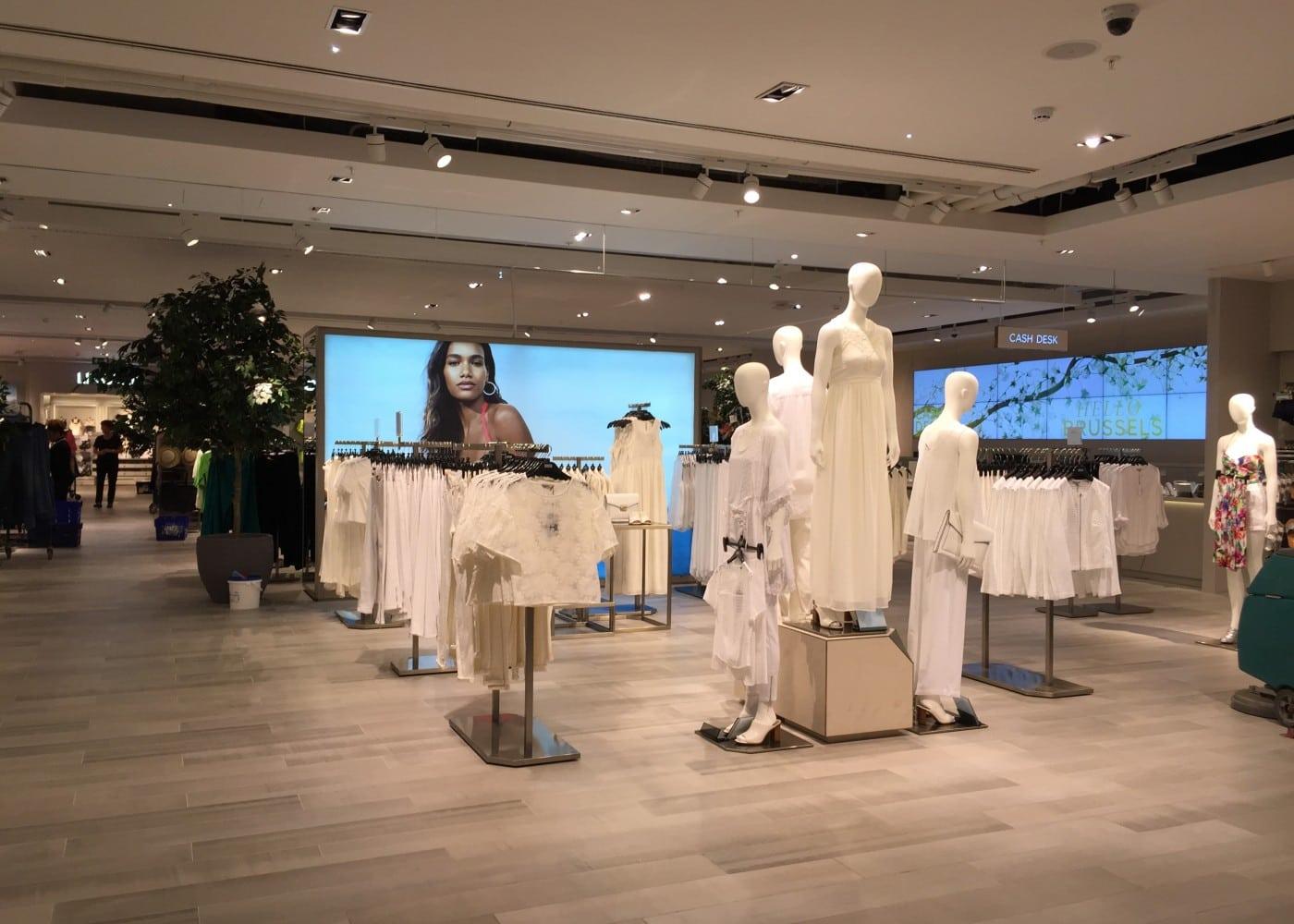 retail lighting design: womenswear department