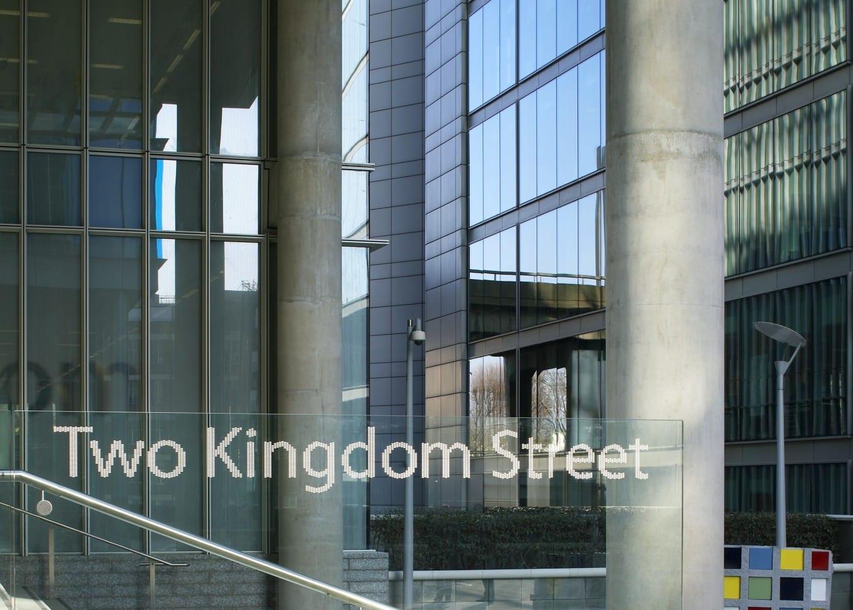 commercial lighting design: KPF Kingdom Street exterior stairway