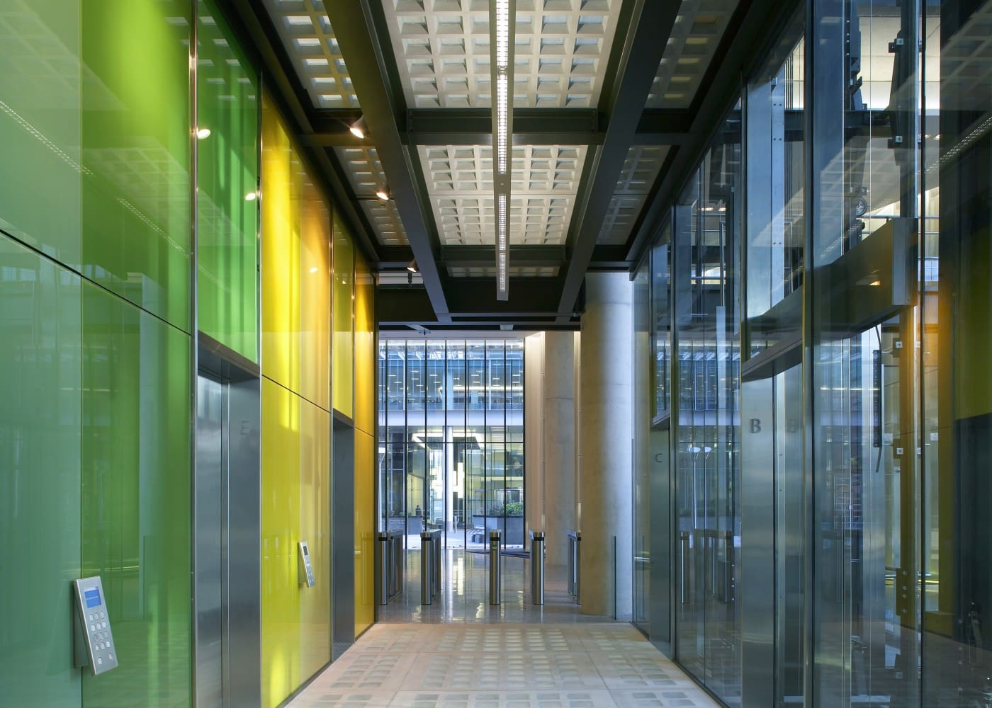 commercial lighting design: KPF Kingdom Street corridor and lifts