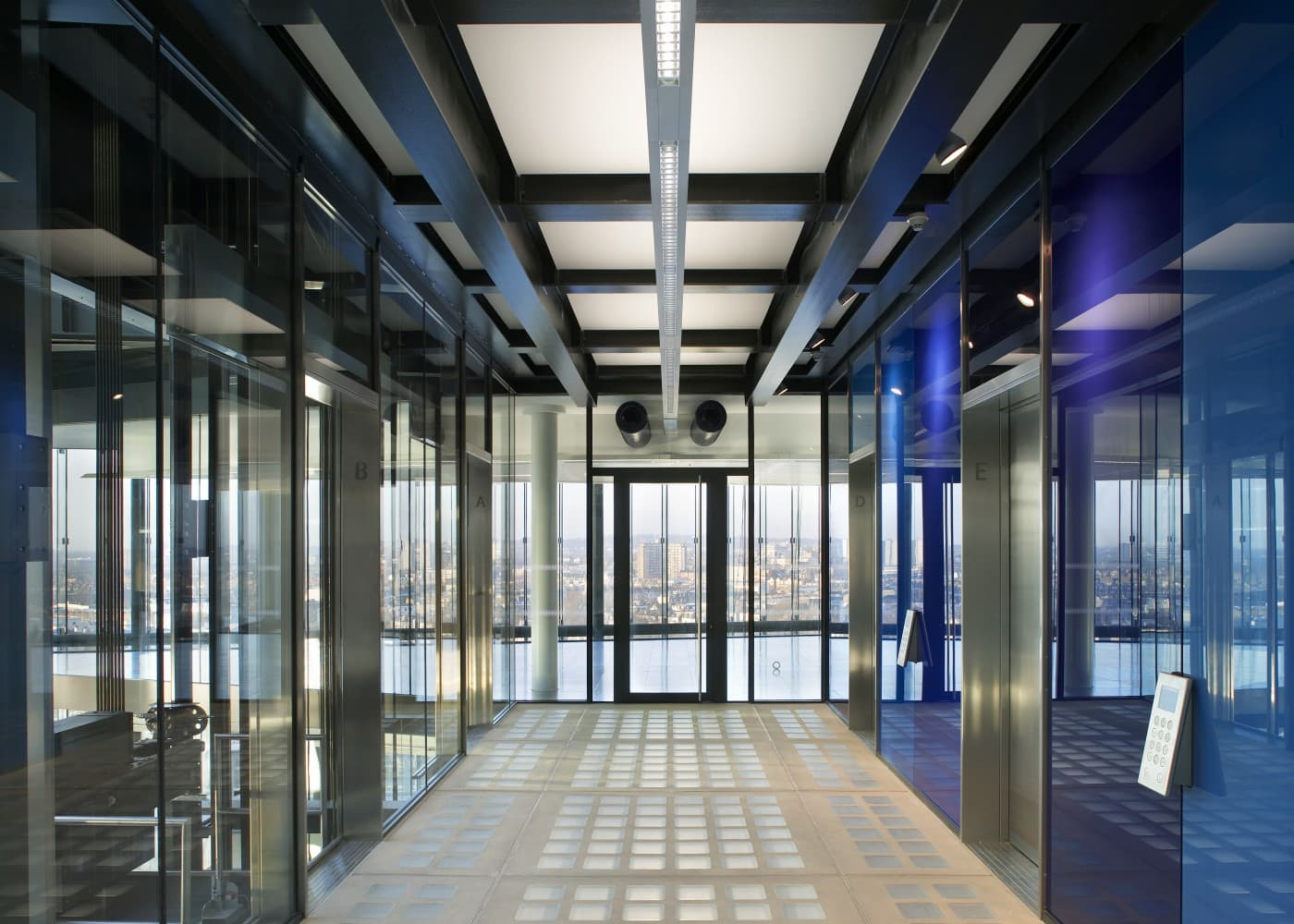 commercial lighting design: KPF Kingdom Street corridor and lift view