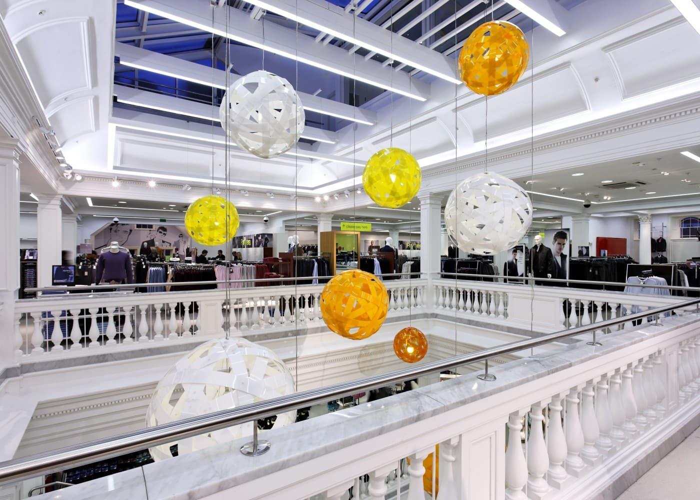 retail lighting design: M&S Dublin store interior