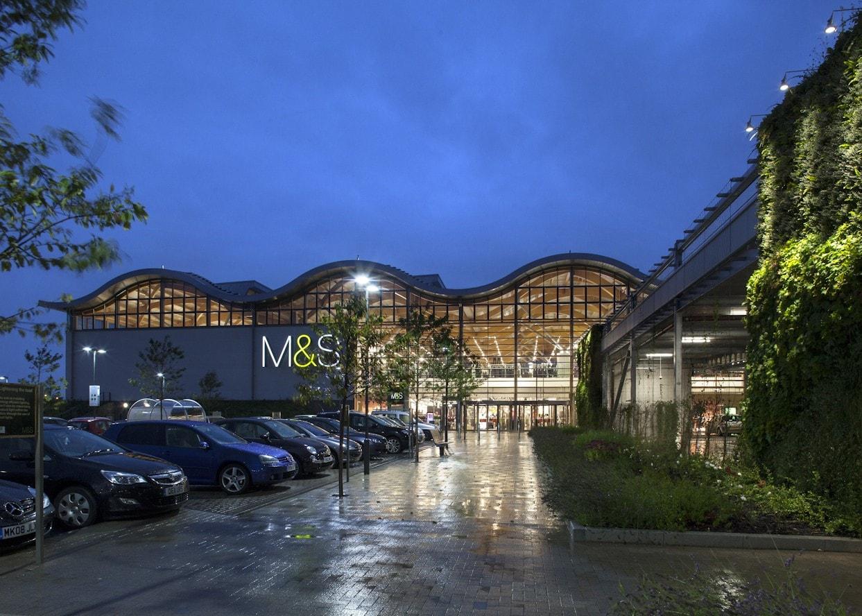 retail lighting design: M&S Chester store exterior