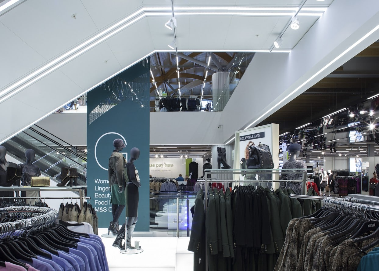 retail lighting design: M&S Chester womenswear department