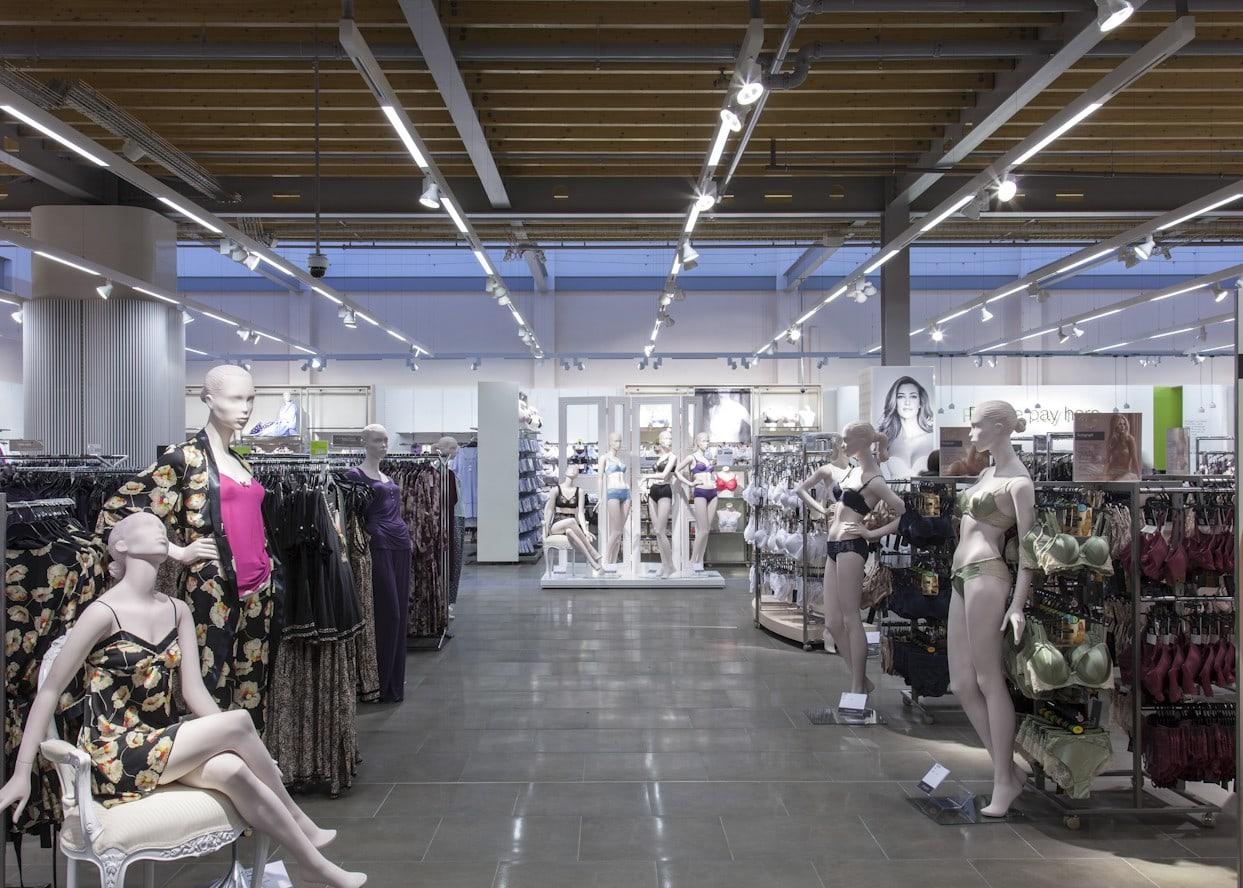 retail lighting design: M&S Chester lingerie department