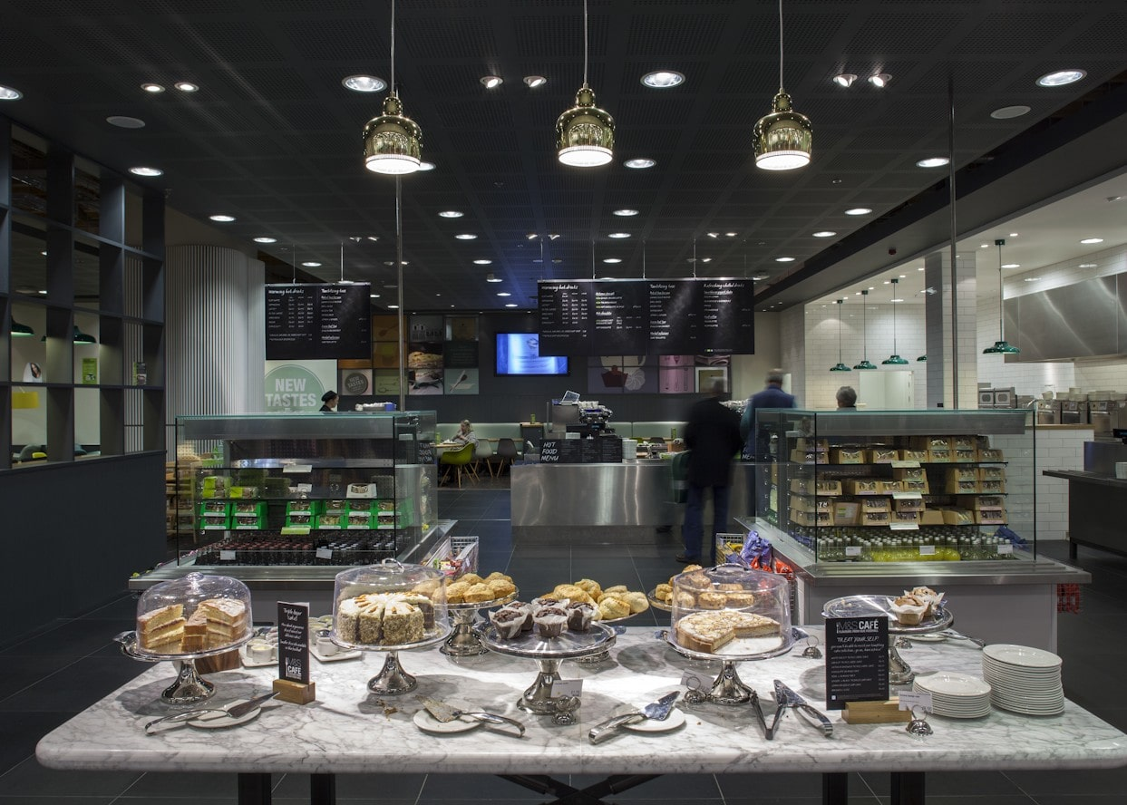 retail lighting design: M&S Chester cafe cake display