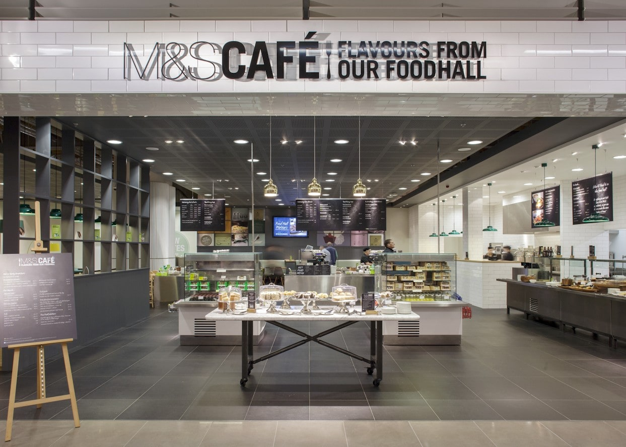 retail lighting design: M&S Chester cafe and foodhall