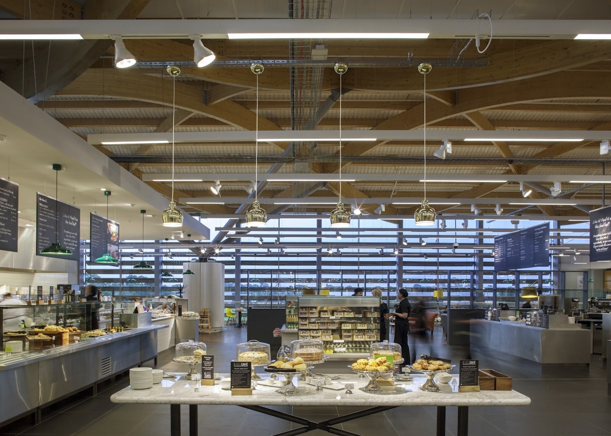 retail lighting design: M&S Chester cafe food display