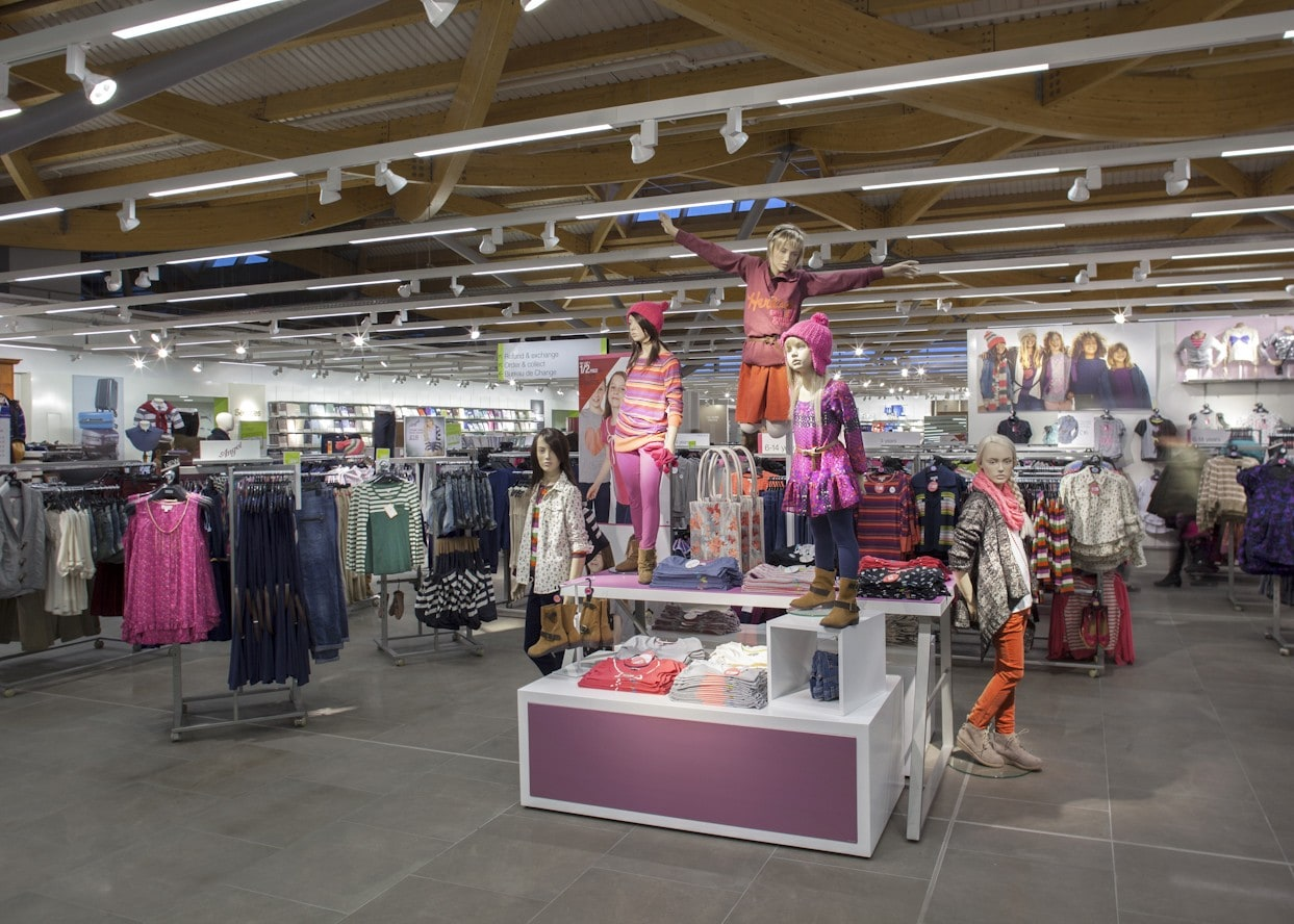 retail lighting design: M&S Chester childrens wear department uses track lighting