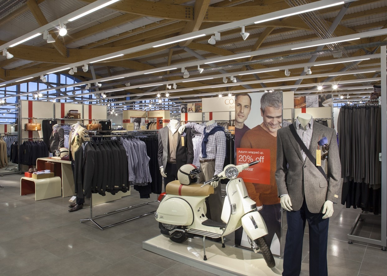 retail lighting design: M&S Chester menswear department
