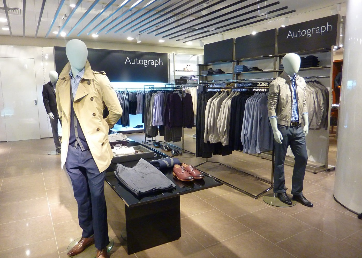 retail lighting design: M&S menswear department