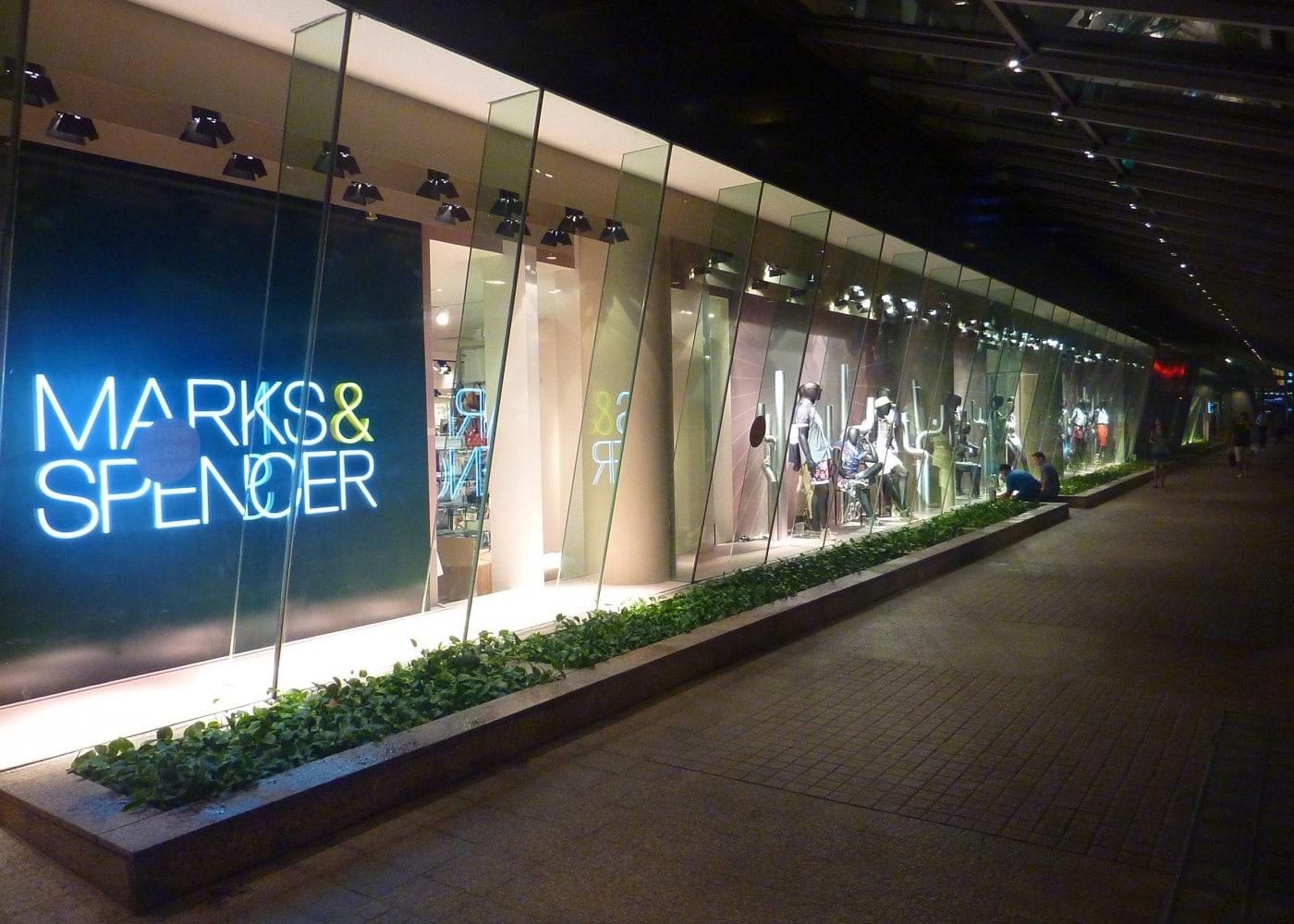 retail lighting design: M&S store exterior