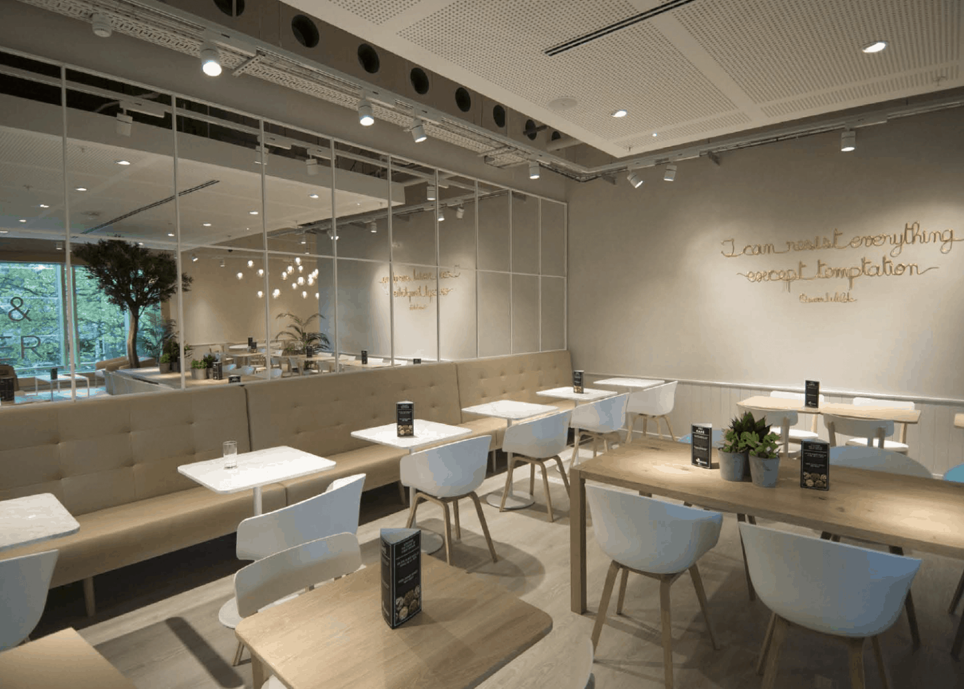 hospitality lighting design: TD cafe seating area