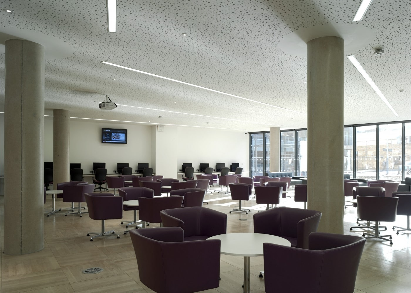 education lighting: University of Bedfordshire seating area