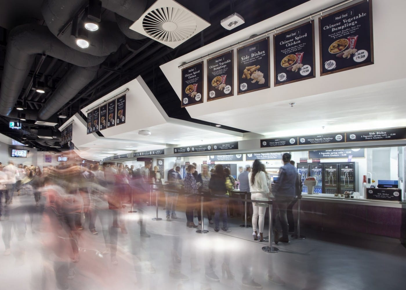commercial lighting design: Barclaycard Arena food service area