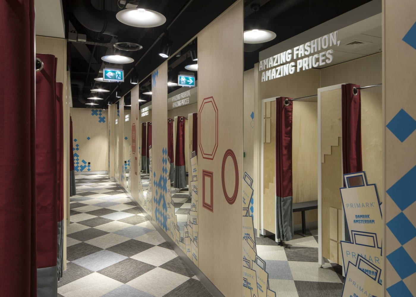retail lighting design: Primark Amsterdam fitting rooms