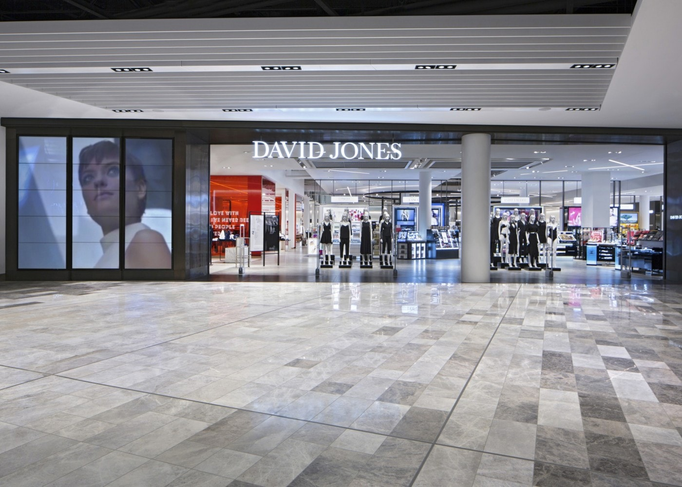 retail lighting design: David Jones shop exterior