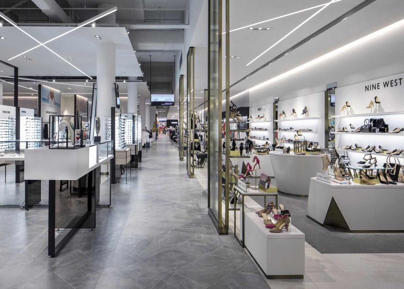 retail lighting design: department store shoe and glasses area