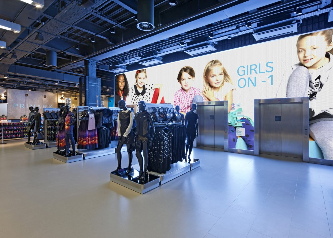 retail lighting design: Primark store department