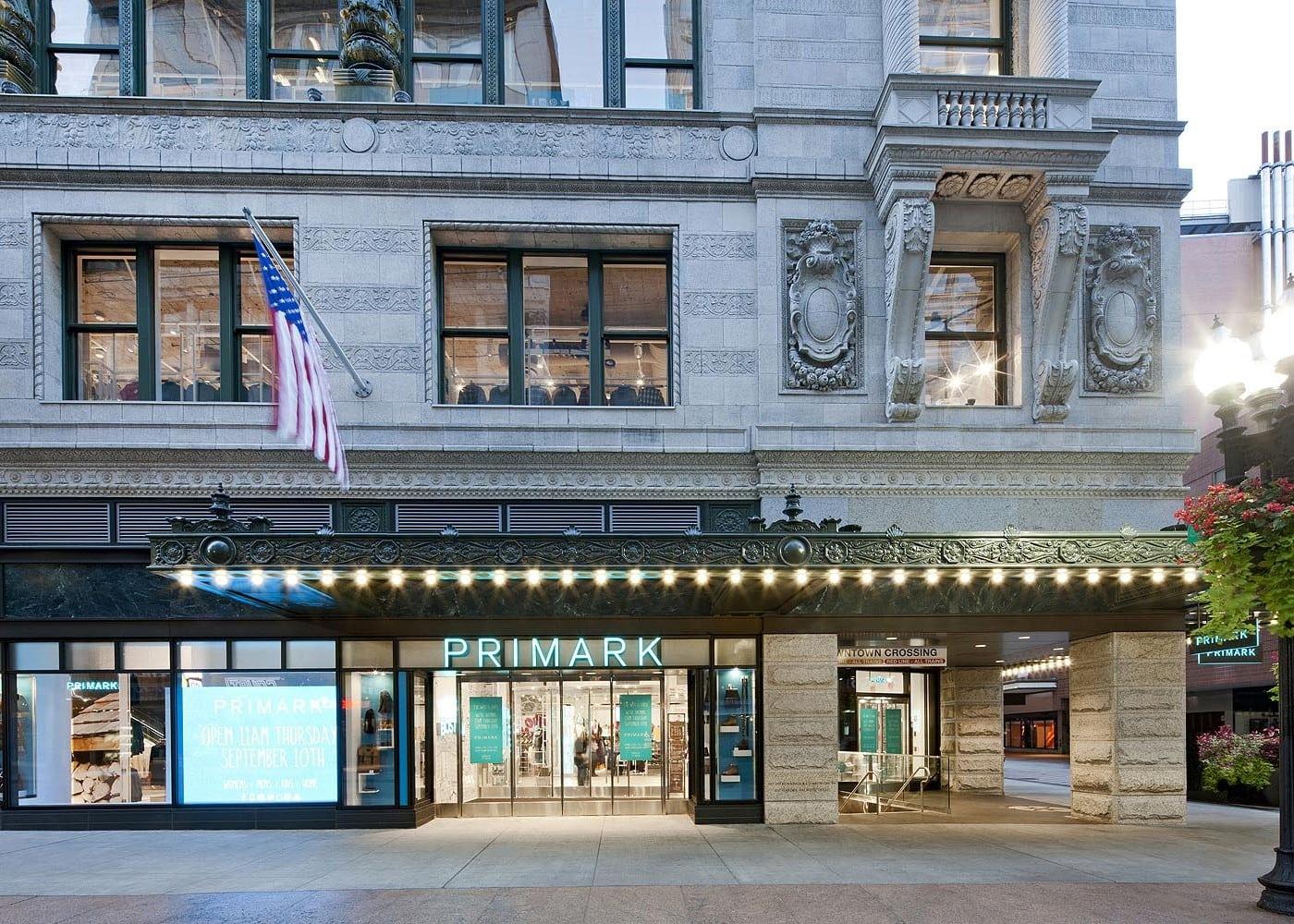 retail lighting design: Primark exterior street view
