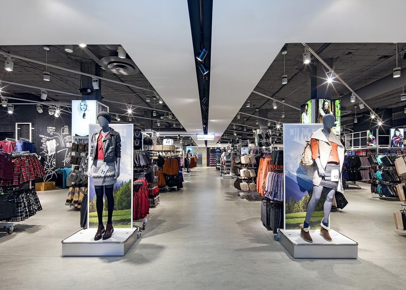 retail lighting design: Primark fitting rooms ladieswear shop floor