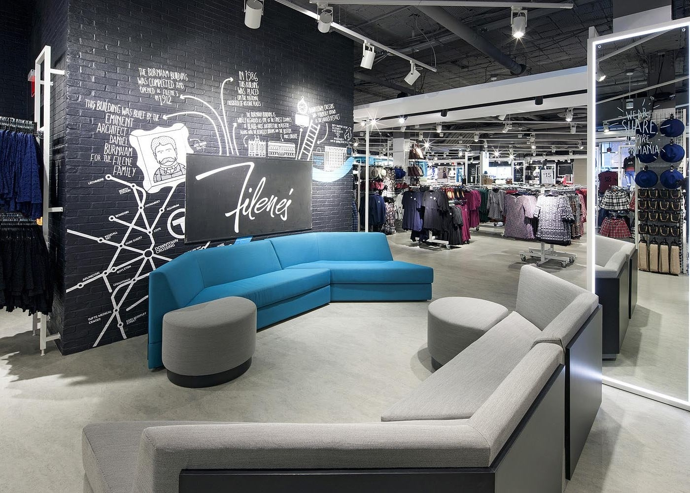 retail lighting design: Primark sofa lounge area