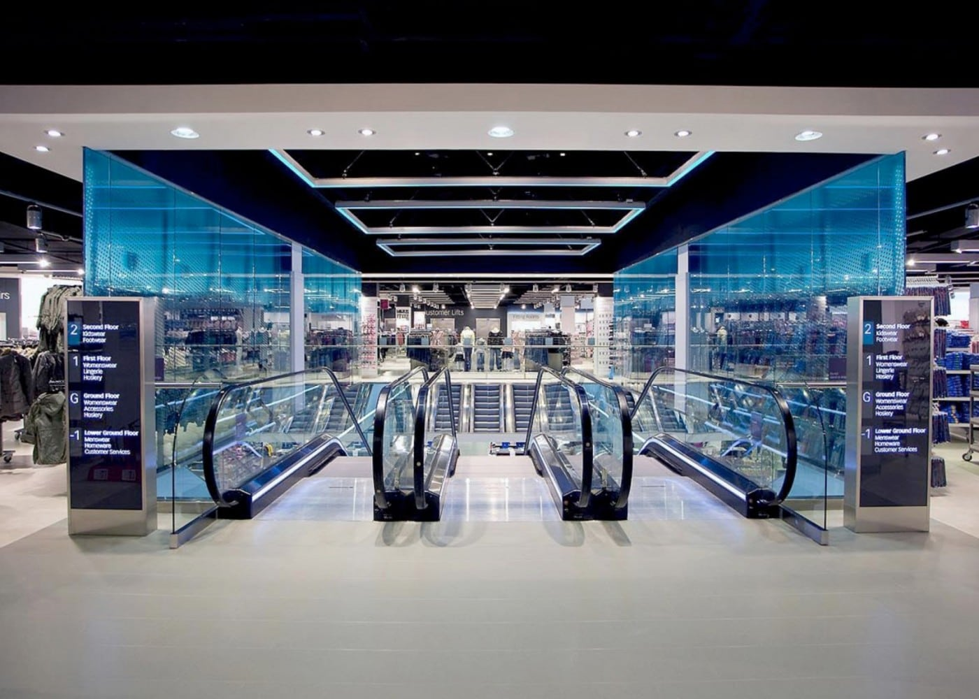 retail lighting design: Bristol Primark escalators