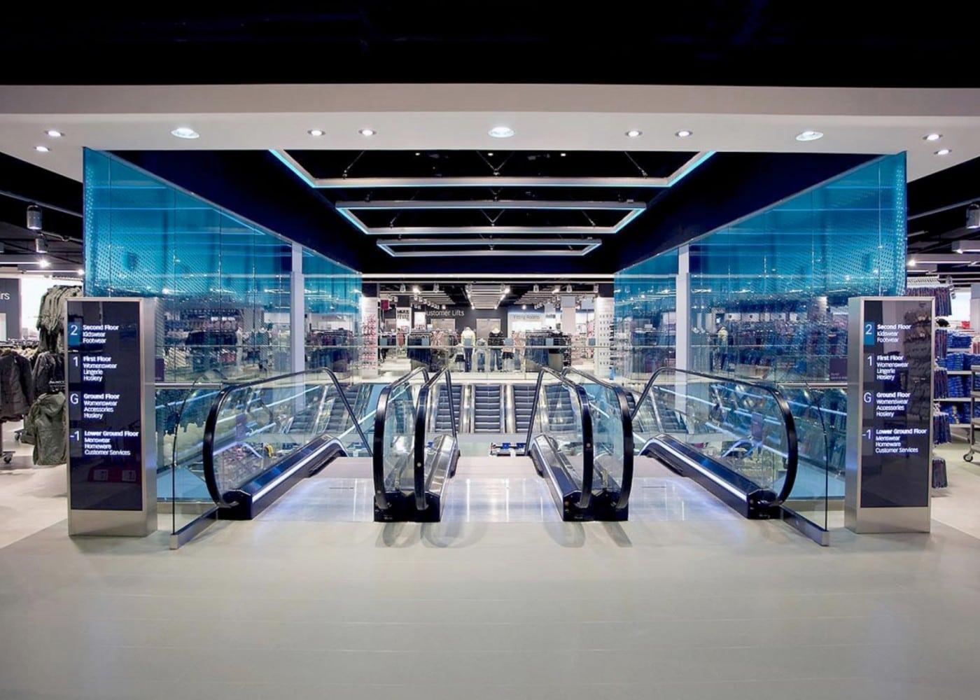 retail lighting design: Bristol Primark escalators