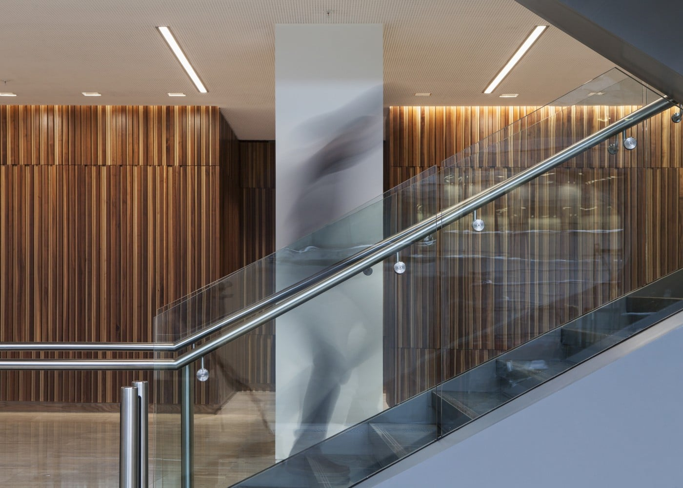 retail lighting design: One Spinningfields stairway