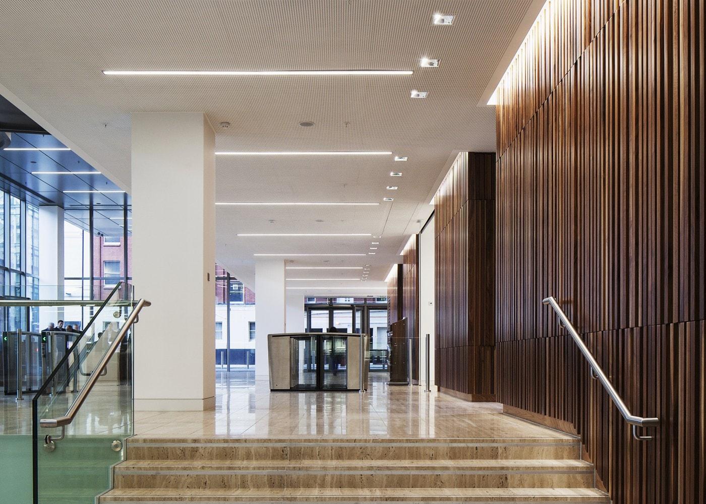 retail lighting design: One Spinningfields stairway