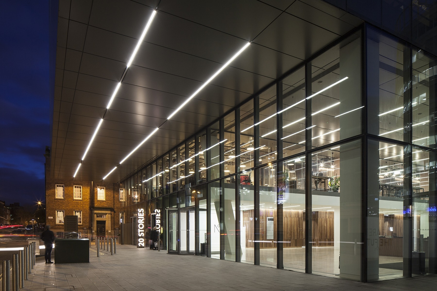 retail lighting design: exterior of One Spinningfields