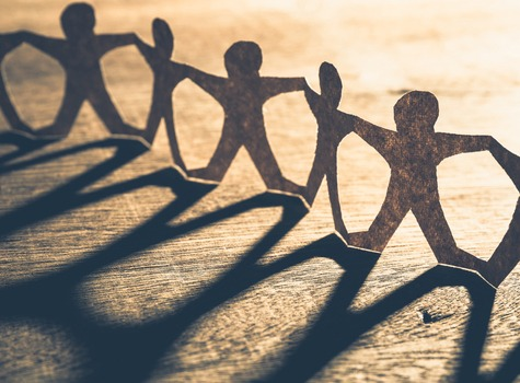 Teamwork paper cutouts